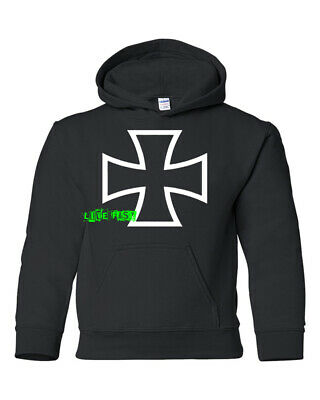 IRON CROSS MALTESE CROSS HOODIE HOODED SWEATSHIRT old school biker hot rodder