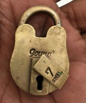 old or antique solid brass small miniature padlock lock with key RARE shape