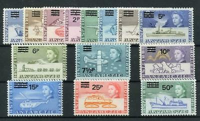 British Antarctic Territory 1971 Decimal Surch set SG24/37 MNH