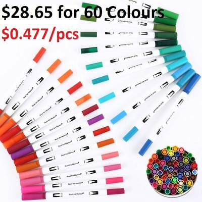 Upgrade Marker Pens 60 Colour Graphic Art Twin Tips Broad Fine Point For Copic