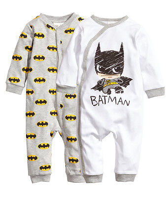 UK Toddler Newborn Kids Baby Girls Boy Batman Rompers Jumpsuit Outfits Clothes