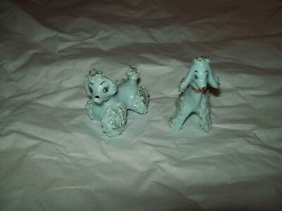 poodle spaghetti 2 small blue pair guc antique vintage