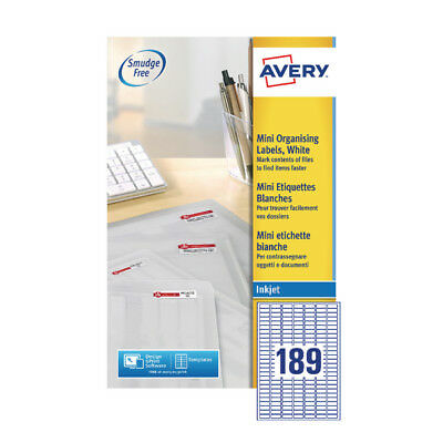 Avery Mini Inkjet Label 25.4x10mm 189 per Sheet (Pack of 25) J8658-25