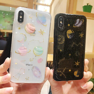 Shockproof Silicone Galaxy Clear Phone Case Cover for Apple iPhone X 6s 7 8 Plus