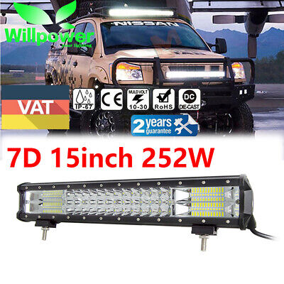 TRI-ROW 17 inch 252W 7D LED LIGHT BAR SPOT FLOOD DRIVING 4WD BOAT SUV ATV 18