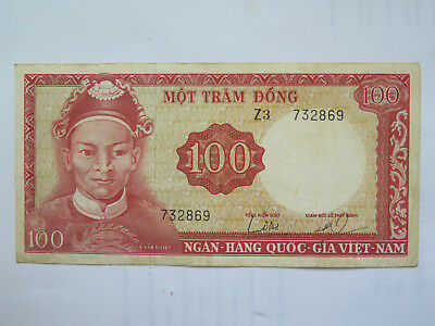 VIET-NAM 100 DONG BANK NOTE CIRCULATED CONDITION c1970s