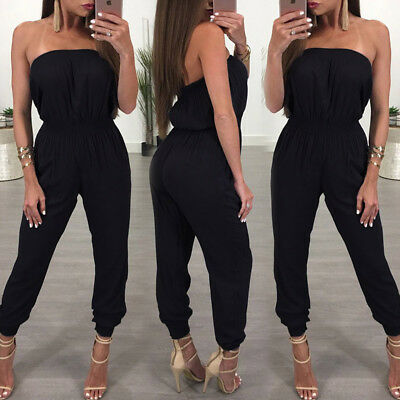 UK Womens Off Shoulder Ripped Jumpsuit Ladies Evening Party Playsuit Size 6 - 14