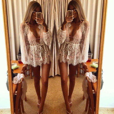 Women Bathing Suit Lace Crochet Bikini Cover Up Swimwear Summer Beach Dress