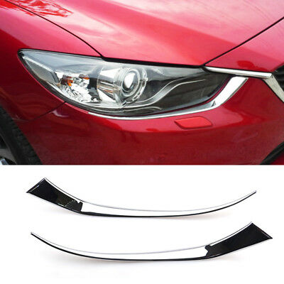For Mazda 6 Atenza 2014 2015 Chrome Front Head Light Cover Trim Eyebrow Molding