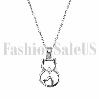 Women's Girls 925 Sterling Silver Love Heart Cat Pendant Necklace Chain Gift Box