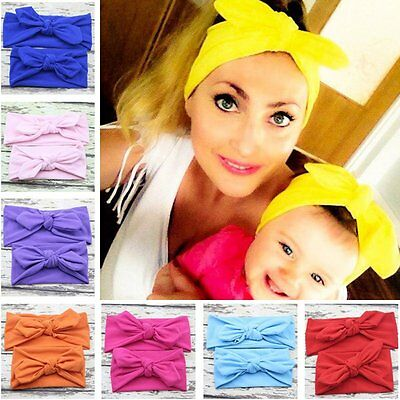 2Pcs Mama & Baby Girl Elastic Bow Knotted Turban Hair Band Headband Headwear New