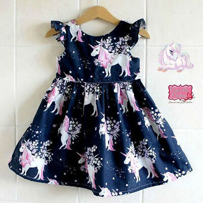 UK Kids Baby Girls Unicorn Summer Floral Party Pageant Cotton Prom Dress Clothes