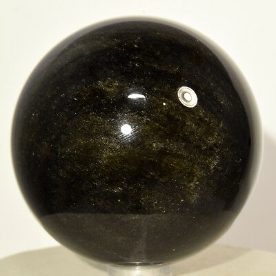 """2.4"""" Gold Sheen Black Obsidian Sphere Natural Sparkling Crystal Stone - Mexico"""