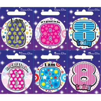Simon Elvin I AM 8 TODAY Happy 8th Birthday Badge Girl Boy Pink Blue 55mm