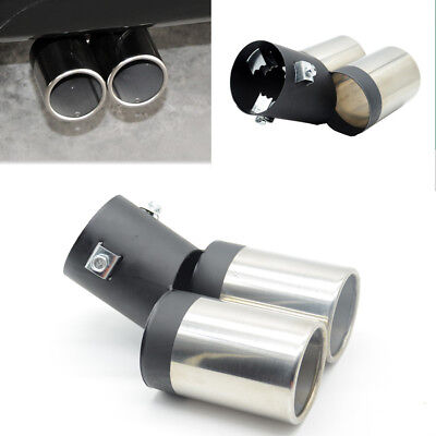 1x Car Round Exhaust Muffler Stainless Steel Tail Dual Pipe Trim Decorative Tip