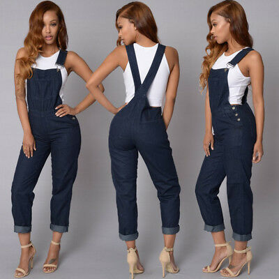 Women Jumpsuit Playsuit Jeans Denim Blue Dungaree Overalls Trousers Pants Romper