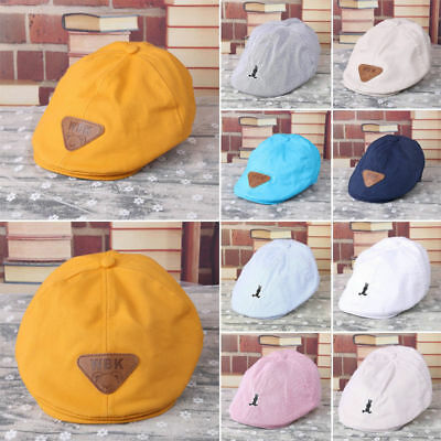 Stripe Beret Cap Peaked Baseball Hat Cabbie Flat for Baby Kids Infant Boy Girl E