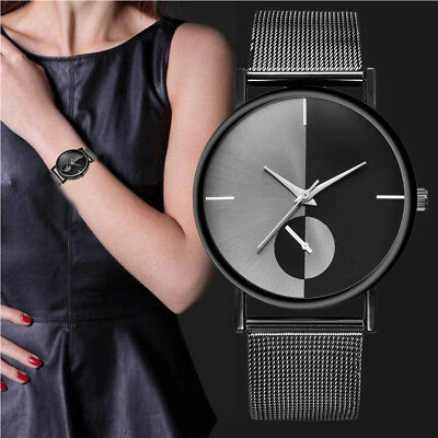 UK Womens Fashion Luxury Classic Quartz Stainless Steel Formal Dress Wrist Watch