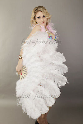 """24""""x 43"""" white Marabou & Ostrich feathers fan with leather Travel Bag"""