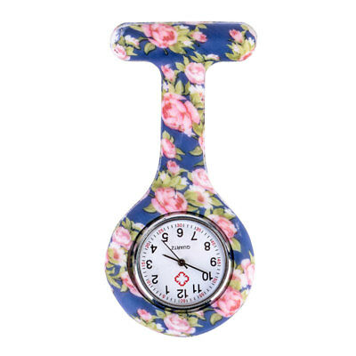 Floral Patterned Nurses Watches Silicone Medical Tunic Fob Watch With Brooch UK