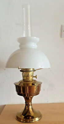 Vintage 61Cms Brass Oil Lamp Aladdin 23 With White Glass Shade And Chimney