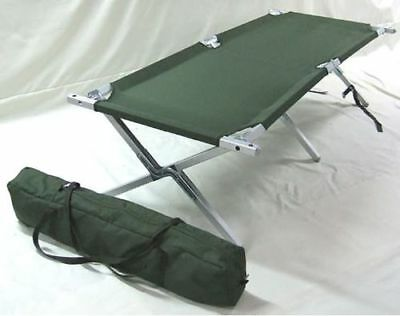 MoD Army Issue Folding Camp Bed Cot with Aluminium Frame JLS Carry Case Grade 1