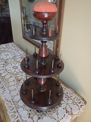 Antique Victorian Thread Spool Stand Pin Needle Cushion Turned Wood Bobbin Stand