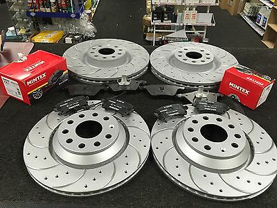 Seat Leon Cupra Sc St Brake Disc Cross Drilled Grooved With Brake Pad Front Rear