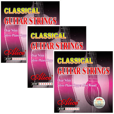 3 Packs Full Set Alice A107 Clear Nylon Silver Classical Guitar Strings 028-043