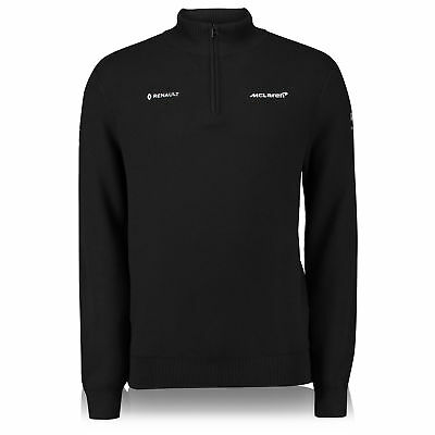 Official McLaren 2018 Team Knit Top Sweater Jumper 1/4 Zip Long Sleeve F1