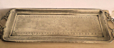 Old Indian Asian Large Brass Tray Etched With Elephants Hunting Tigers 74 Cms
