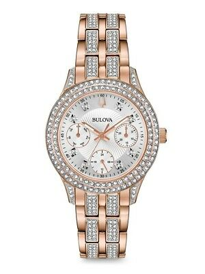 Bulova Women's Crystal Acce Rose Gold Tone Stainless Steel Crystals Watch 98N113