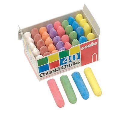 Pack Of 8 Assorted Colours Scolaquip Chunki Chalks AS826