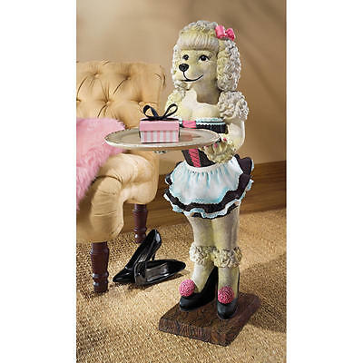 "Coco The Parisian Poodle Design Toscano 35½"" Serving Table With Removable Tray"