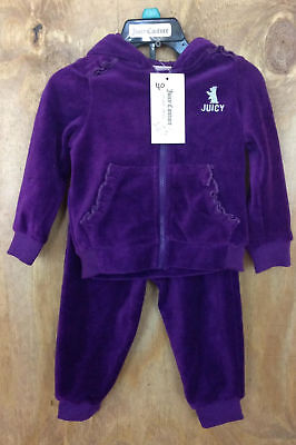 NWT Juicy Couture Girls 2 Piece Purple Jogger and Zip Hoodie Size 18 months