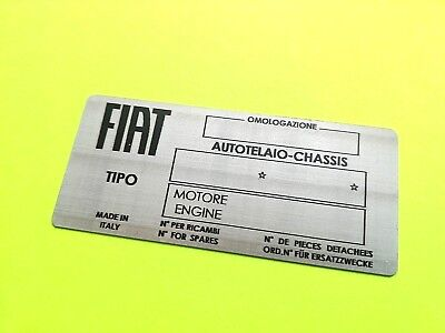 Car ID Identification Tag VIN Plate for Fiat