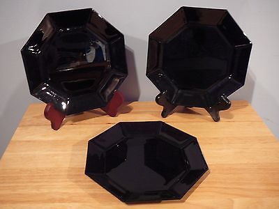 "3 Vintage Black Arcoroc Octime Black Glass 7""  Salad Plates"