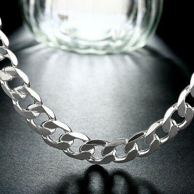 Fashion 925 Sterling silver Plated 12MM solid men Chain Necklace jewelry