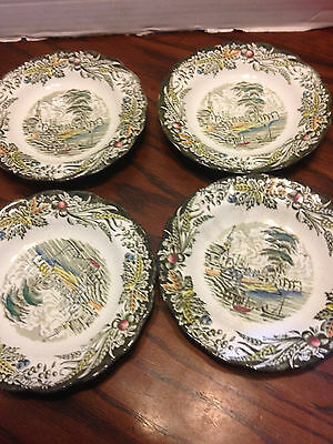 Ridgway Heritage 4 Saucers Green Multi Village of Cedars Scenes Early Canada