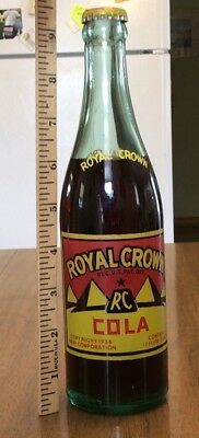 Almost full Royal Crown Cola bottle ACL dated 1936 Baltimore Md Orig & cap cola