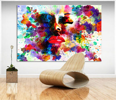 portrait abstrakte bunte frau bild auf leinwand kunst. Black Bedroom Furniture Sets. Home Design Ideas