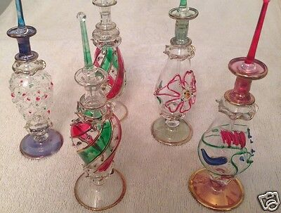 """LOT of 15 Mouth blown EGYPTIAN PERFUME BOTTLES Pyrex Gold Painted  Glass 7"""""""