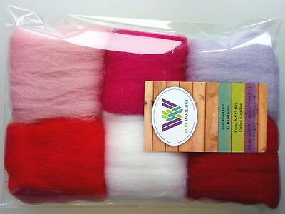 Valentine set* Pure Wool Tops for felting 6 colours: white pink red pack of 30g