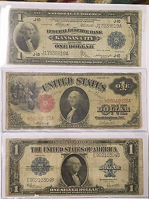 Lot(3) Large Currency Notes:$1 1918 National, $1 1917, $1 1923 Silver Cert.