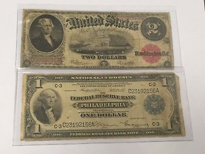 Lot(2) Large Currency: $1 1918 National, $2 1917 Bearer Note-Blue/red Seal