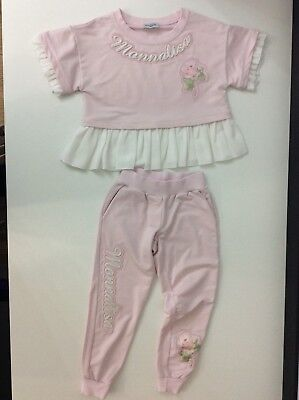MONNALISA Girls Pink Tracksuit Jumper & Bottoms Age 6 Years Outfit Set Vgc