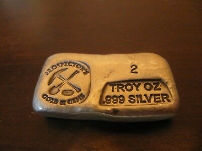 Prospector's Gold & Gems  2 Troy Oz .999 Fine Poured Silver Bar
