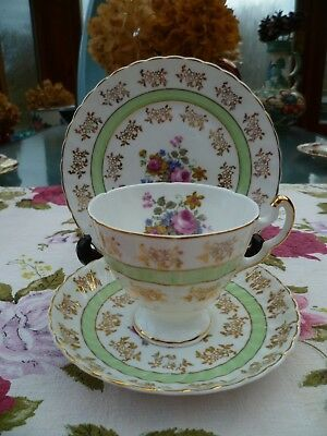 Pretty English China Trio Tea Cup Saucer Plate Green Floral Gilded