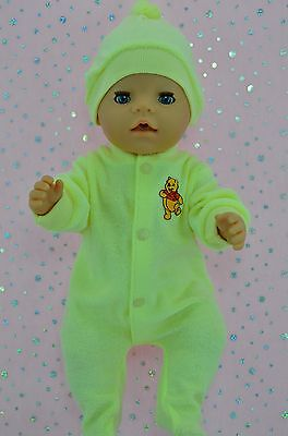 """Play n Wear Doll Clothes For 17"""" Baby Born LEMON TOWELLING STRETCH AND GROW~HAT"""
