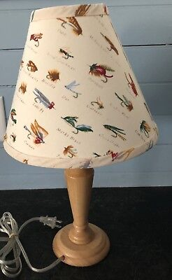 Table Lamp With Fishing Fly Lamp Shade Flies Fish Fisherman